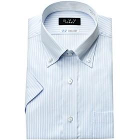 (アーヴェヴェ)a.v.v HOMME メンズワイシャツ 半袖 スリムフィット ワイドカラー マイターカラー ボタンダウン 形態安定加工 吸水速乾 [450-LL]