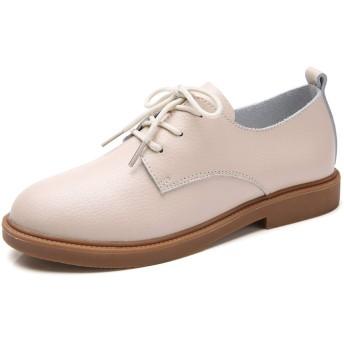 [Mingtudz] レディース 革靴 本革 レースアップシューズ おじ靴 オックスフォード レザー カジュアル 女性 クリーム 24.0cm
