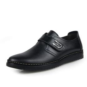 [ファッションフロント] 革靴 メンズ レースアップシューズ 本革 ローカット カジュアルシューズ ワークブーツ スニーカー 通勤 防滑(ブラック 27.0cm (44))