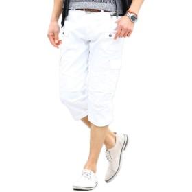 MENZ-STYLE (メンズスタイル) パンツ クロップドパンツ ストレッチ 千鳥格子 カジュアル(ホワイト M)