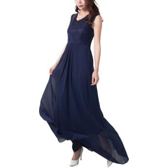 (リザウンド)ReSOUND レディース 刺繍 レース ロング ドレス Blue XL プリンセス カシュクール スレンダー ライン ミニドレス アンクル丈 無地 姫系 魅力感 優雅 シャープ モダン アナ エルサ フォーマル セレブ 青 XL 394