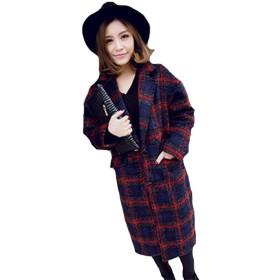 QUEENSHINY ファッション レディース 羊毛 カシミヤ ウール ラシャ クラシック チェックラヴァーズ コート アウターウェア レッド M