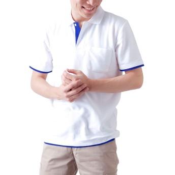 ティーシャツドットエスティー ポロシャツ 半袖 レイヤード 鹿の子 ポケット付き UVカット 5.8oz メンズ ホワイト×ロイヤルブルー S