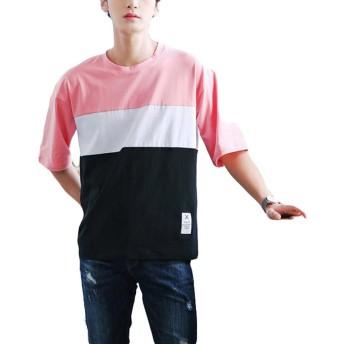 BeiBang(バイバン) メンズ 半袖 tシャツ 切り替え ゆったり 夏服 カジュアル カットソー トップス 夏物(28ピンク)