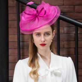 ヘッドドレス ストローチュールリボンフェザー付きカチューシャヘッドドレス♪ピンク ストローハット ハット レディース ヘッドドレ