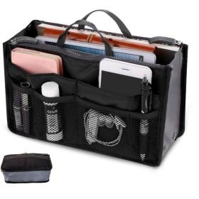 FFROMLIFE 高品質 バッグ メイク ボックス メイクバッグ 多機能 大容量 収納バッグ インナーバッグ 化粧品収納ポーチ バッグインバッグ 軽量 旅行 通勤 便利グッズ(ブラック)