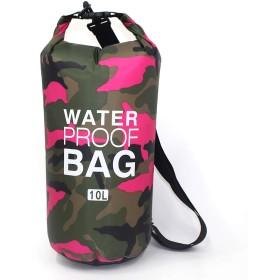 [シダーエイト] 防水バッグ アウトドア 迷彩柄 リュック ビーチバッグ プールバッグ ドライバッグ (10L, ピンク)