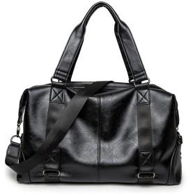 旅行バッグ メンズ 軽量 トラベルバッグ 2WAY 1泊 2泊 旅行 黒 ブラック 大容量 革 レザー ゴルフ 旅行鞄