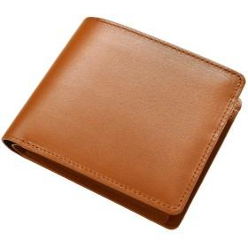 [タバラット] 日本製 二つ折り財布 ボックスカーフ 本革 (キャメル) Tps-072-ca