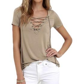 ミネサム Minesam レディース Tシャツ 半袖 無地 オリジナル ユニークなVネック ブラウス トップス カットソー カーキ XL