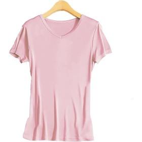 シルク Vネック Tシャツ レディース 半袖 8色 シルク100% silk100% シンプル 一枚着用 重ね着 シンプル オシャレ 肌に優しい 敏感肌 低刺激 快適 保湿 (XL, ピンク)