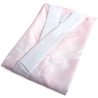 きもの京小町 洗える長襦袢 レディース 半衿 仕立て上がり ピンク Mサイズ 一部式 綸子 地紋入り 袖無双 日本製