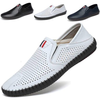 [Ziitop] メンズ ドライビングシューズ ビジネスシューズ 本革 ローファー スリッポン モカシン カジュアル デッキシューズ 紳士靴 防滑 軽量 ホワイト 24.5cm