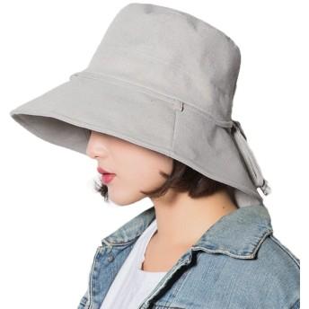 SHANLIANG 帽子 レディース UVカット 紫外線100%カット UV ハット 可愛い 小顔効果抜群 綿麻素材のオシャレな 日よけ 折りたたみ つば広 自転車 飛ばない 夏 吸汗速乾 抗菌防臭 サイドリボン (グレー)