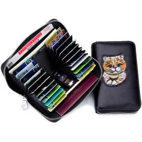 imeetu 長財布 カードケース カード入れ レーディス 24枚収納 牛革 可愛い 猫柄 スキミング&磁気防止 大容量 軽量 (ピンク)