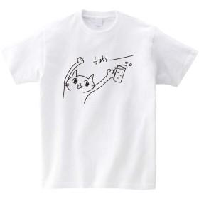 ビール派ねこ Tシャツ【ホワイト】/猫/Tシャツ/ゆるキャラ/ねこグッズ/ビール/BEER/アニマル (S)