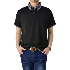 (フラグオンクルー) FLAG ON CREW ポロシャツ メンズ 半袖 ボタンダウン クレリック衿 吸汗速乾 ポロ ストレッチ / C4Y / L クレリック・ブラック・06