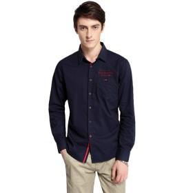 メンズ カジュアルシャツ 長袖 シャツ ワイシャツ 無地 ビジネス RF-23(L,Blue)
