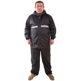 (ワンース) Wansi レインコート メンズ 上下セット レインスーツ レインウェア 安全反射シート 撥水 大きいサイズ 雨の日 作業 ブラック XXXXL