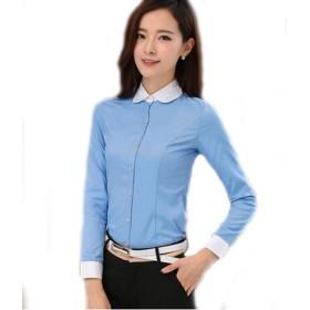 Foxseon レディース 女性 オフィス ラウンドネック ワイシャツ 長袖 白Yシャツ スリム デザイン (L, ブルー)