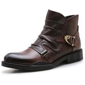 [ONE MAX] ブーツ メンズ 牛革 サイドジッパー ドレープ モンクストラップ ビジネスブーツ 男 秋冬 ショートブーツ 防水 防滑 靴