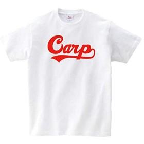 Lindwurm (リンドヴルム) カープ Tシャツ 野球応援 グッズ 半袖 Carp ロゴTシャツ Uネック ユニセックス 男女兼用 プリントTシャツ ホワイト L