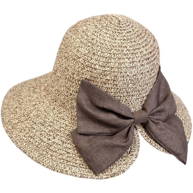 麦わら帽子 レディース T WILKER UVカット リボン付き つば広 小顔効果 紫外線防止 レディース 蝶結び ストロー ハット 折りたたみ 携帯便利 アジャスター サイズ調整 日よけ 日常用 可愛い ペーパーハット (ブラウン)