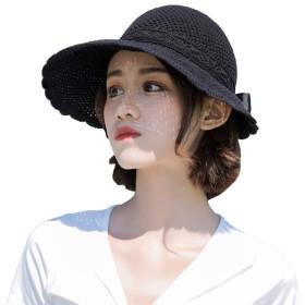 TONGMO 麦わら帽子 レディース サンバイザー 折り畳み uvカット つば広 リボン付き 黒 通気性 遮光 日焼け防止 日よけ帽子 小顔効果