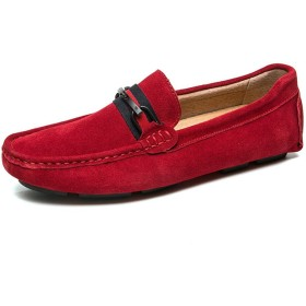 [ジョイジョイ] 赤 メンズドライビングシューズ ローファー スウェッドカジュアル スリッポンシューズ デッキシューズ 柔軟性 通気 軽量 ビジネスシューズ 靴 夏 防滑 鮮やか ビット クッション 履きやすい 蒸れない 革靴 職場用 旅行