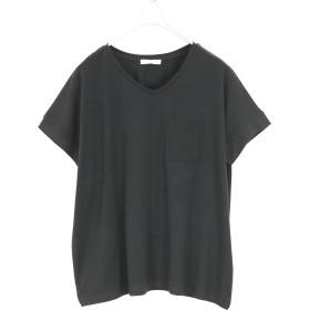 [アンドイット] and it_ もちもちストレッチ Vネック カットソー レディース Tシャツ トップス 04ブラックL