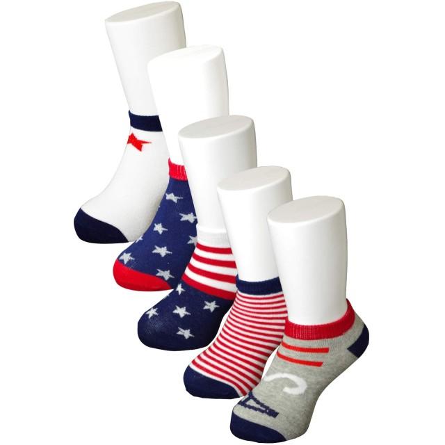 【AFROMARKET】 子供用ソックス ソックス 子供 くるぶしソックス 5足セット アメリカ 国旗柄 子供の靴下 くつした ボーイズ