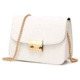 女性のクロスボディバッグPUレザーサドル肩の南京錠バッグ金属チェーンストラップハンドバッグ (白)