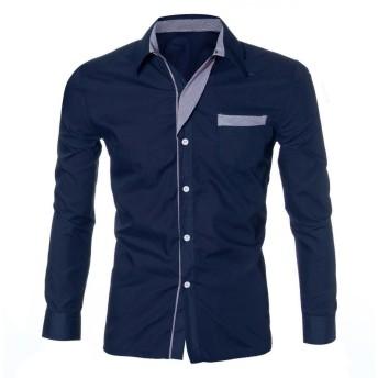 DAISUKI メンズロング スリーブ 格子 ワイシャツ ワイシャツ ファッションメンズ高級ロングスリーブカジュアルスリムフィットスタイリッシュなドレスシャツ (2XL, ネイビー)