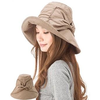 S&C Live 帽子レディース つば広 UVカット 紫外線対策 日焼け リボン 取り外すあご紐 ネックカバー サイズ調節可 折り畳みんでコンパクト 防風紐付きハット サファリハット小顔効果 エレガントUVハット自転車#160057 (カーキ(取り外す可能なあご紐付き))