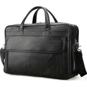 Lannsyne ビジネスバッグ ハンドトートブリーフケース 2way 大容量 自立 鞄 本革 メンズ ショルダー B4 カバン 出張用 17インチラップトップ収納
