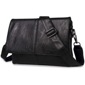 [マローサム] カジュアル と 高級感 多機能 メンズ ショルダー バッグ PUレザー 黒 ブラック