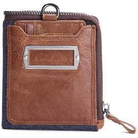 メンズ財布レザーショートクラッチバッグクレイジーホースレザー縦型ウォレットカード袋 財布 さいふ 革財布 2つ折り財布 (Color : Brown, Size : S)