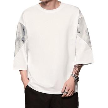 [Macoking]tシャツ メンズ ロングtシャツ 七分袖 ゆったり 綿 肩落ち オーバーサイズ ゆったり 大きいサイズ カップル お揃い ホワイト M