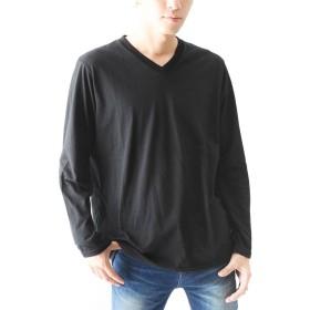 ブラックVネック L (ベストマート)BestMart 消臭加工 Vネック Uネック 長袖 無地 Tシャツ メンズ カットソー ロンT クルーネック 丸首 ティーシャツ 長そで 長袖カットソー 長袖Tシャツ Tシャツ長袖 カットソー長袖 623104-006-043