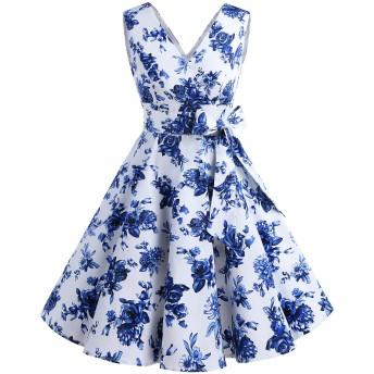 Dresstell(ドレステル) ヴィンテージスタイル スイングワンピース Vネック ベルト付き お呼ばれ 結婚式用ドレス ブルーフラワー Sサイズ