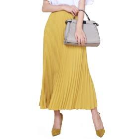 レディース プリーツスカート フレア スカート マキシスカートマキシ ロングスカート (90CM, イエロー(yellow))