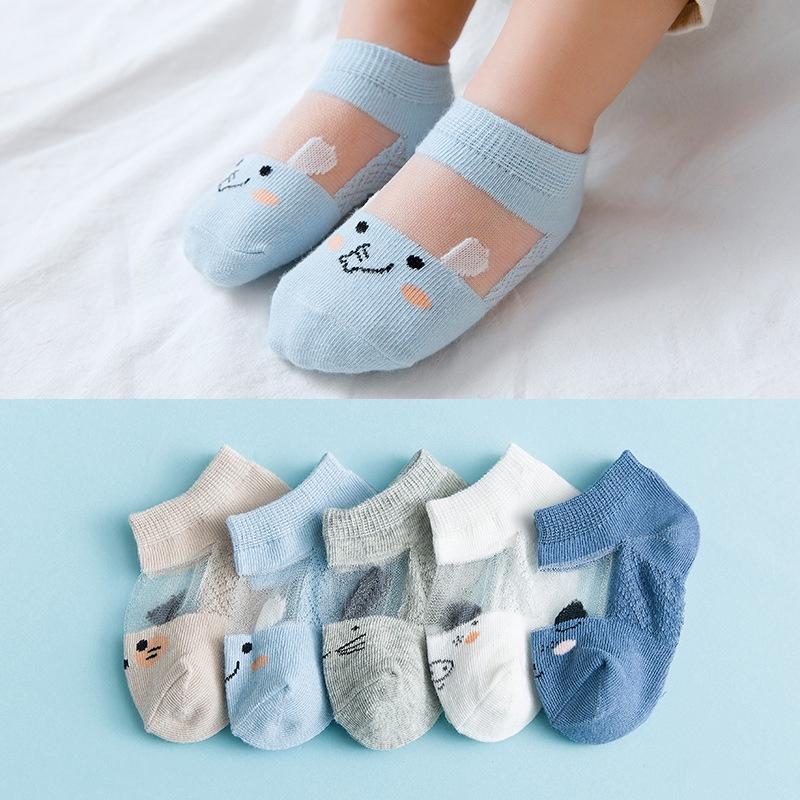 新款夏季冰絲卡通寶寶襪子網眼薄款全棉短筒嬰兒卡通兒童船襪