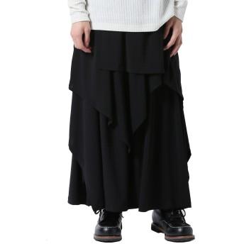 [アズスーパーソニック] レイヤードパンツ モード系 スカート付き ワイドパンツ メンズ 黒 F