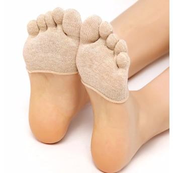 Barberceつま先 5本指 ヨガ用靴下 ソックス軽量 超薄型 靴下 足の臭い対策 フットカバー 5本指 抗菌 防臭 靴下 脱げにくい 足指 セパレーターソックス 通気性抜群 (全 ベージュ)