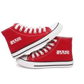 Fanstown KPOP 韓流 チームロゴの赤い高いヒールのフラットキャンバス靴 スニーカー デッキシューズ (BIGBANG)