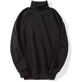 Pizoff(ピゾフ) メンズ ファッション トップス ブラック 長袖 Tシャツ タートルネック シャツ 秋服AL254-black-L