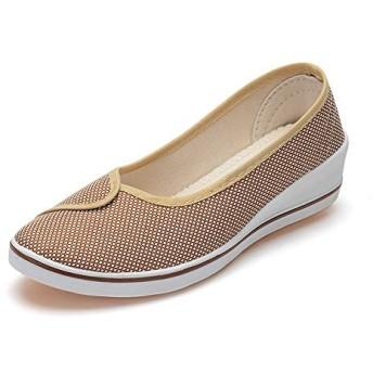 Sulida 看護師 靴 ダンスシューズ フラットシューズレディース パンプス ナースシューズ ヒールなし 軽量 社交ダンス 立ち仕事 脱ぎ履き簡単 疲れにくい 通気性 すべり防止 size 24cm (ブラウン)