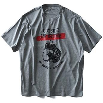 DANIEL DODD オーガニックプリント半袖Tシャツ(OUTSIDE) azt-180238 大きいサイズ メンズ【916.杢グレー-4L】