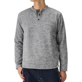 Navy(ネイビー) MAC HEAT(マックヒート)発熱ニットフリースヘンリーネック ヘンリーネックTシャツ ニットソー 長袖 384126MH メンズ ブラック:XL
