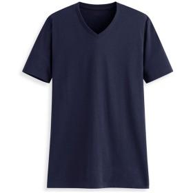 Macoking tシャツ メンズ 無地 半袖 Vネック 5.6oz 吸汗速乾 薄手 綿100% 夏服 ゆったり ゆる首 ネイビー M